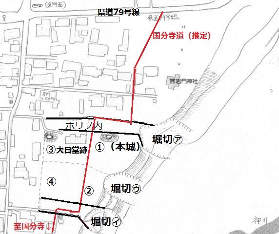 岩門城概略図