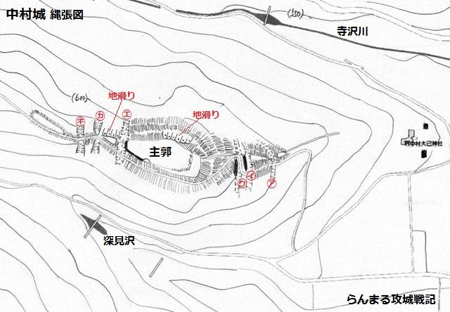 中村城縄張図