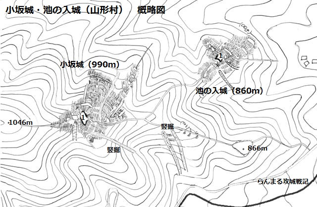 小坂城・池の入城 概略図
