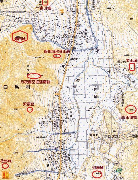 白馬周辺諸城配置図