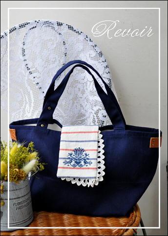 紺刺繍トート