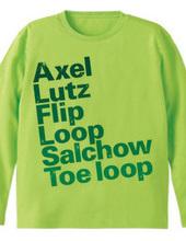 figure skate jump_gr  ロングTシャツ