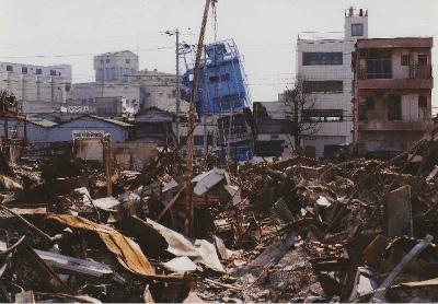 長田区の火災現場