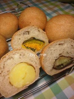 20120828惣菜パン(自家栽培小麦)by梅酵母3