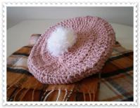 ピンクベレー帽