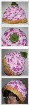 ピンク柄トマト帽子