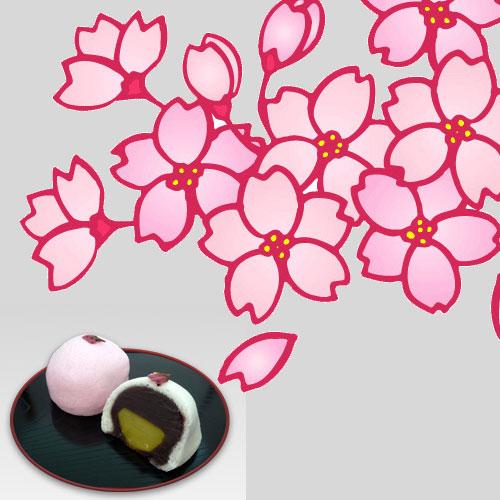 桜と桜万頭