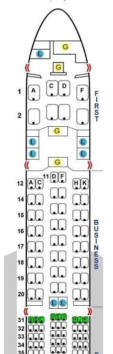 SQ634シートマップ,SQ634ビジネスクラス,シンガポール~羽田 ビシネスクラス