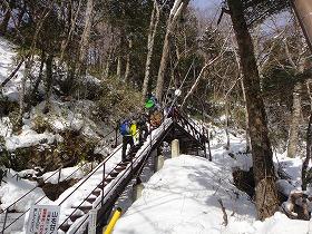凍った階段