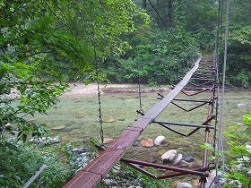 大石吊橋、荒川きれい!