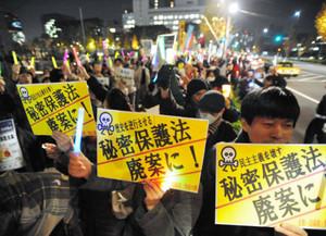 「特定秘密保護法案」に対する抗議集会。