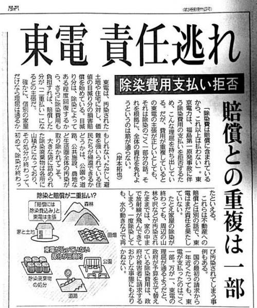 東電除染費用支払い拒否+10月29日