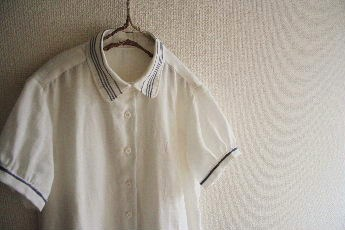 マリンテイストのシャツワンピ