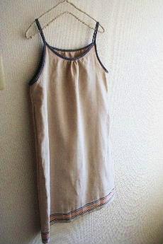 裾ボーダーのキャミワンピ