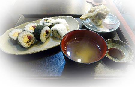 日替わりランチ・巻き寿司・舞茸天麩羅