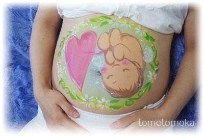 ベリーペイント 赤ちゃん天使と白いお花