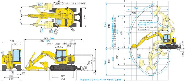 コマツ油圧ショベル超小旋回(PC128UU-8)