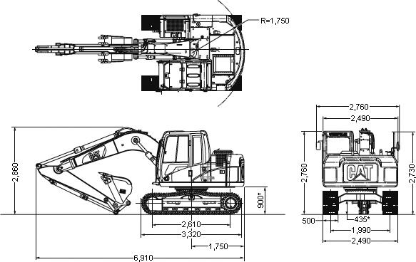 CAT油圧ショベル(汎用小旋回機・311DRR)