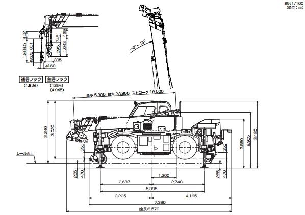TADANO起動陸上兼用ラフテレーンクレーン(GR-120NLDW)
