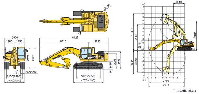 コマツ油圧ショベル標準(HB205-1ハイブリッド/HB215LC-1ハイブリッド)