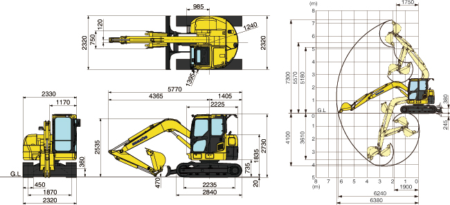 コマツ油圧ショベル(後方小旋回・PC78US-8)