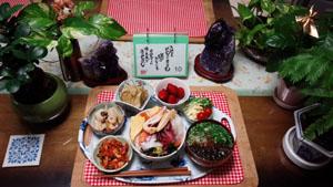 海鮮丼 大根煮物 高野豆腐 海藻野菜スープ