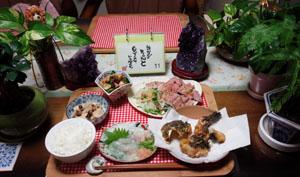 晩ご飯 オコゼ刺身・唐揚げ・ローストビーフ
