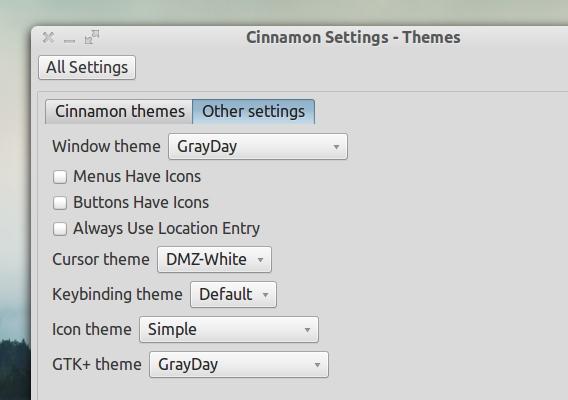 GrayDay Ubuntu テーマ Cinnamonへの適用