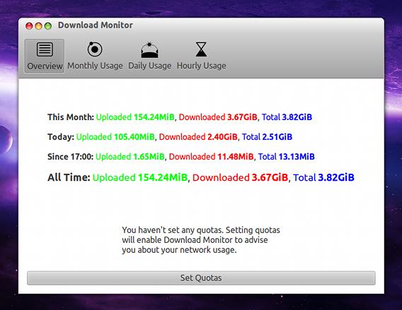 Download Monitor Ubuntu データ通信量 記録 確認