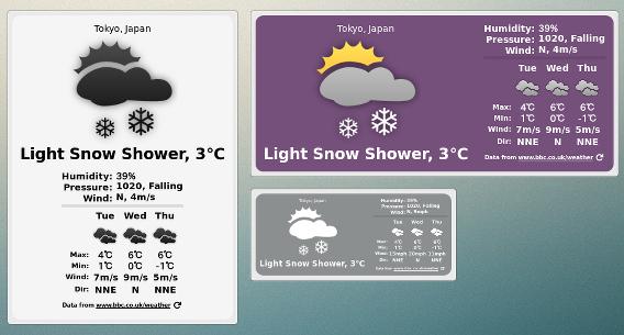 BBC Weather Desklet Ubuntu Cinnamon 天気ウィジェット