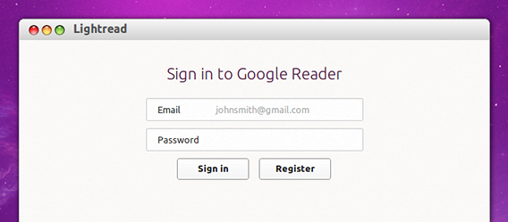 Lightread Ubuntu Googleリーダー Googleアカウントへサインイン