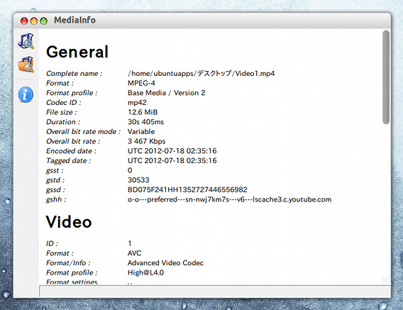 MediaInfo Ubuntu 動画や音楽ファイルの詳細情報 HTMLビュー