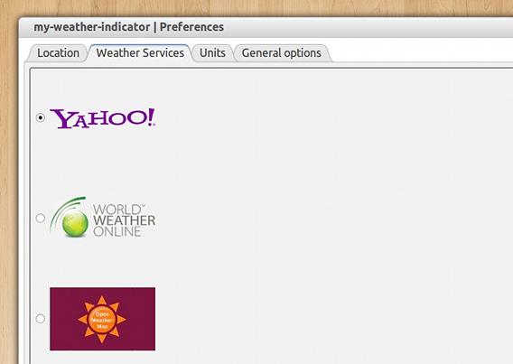 My Weather Indicator Ubuntu 天気 ウィジェット サービスの選択