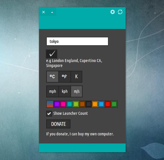 StormCloud Ubuntu 天気 ウィジェット オプション