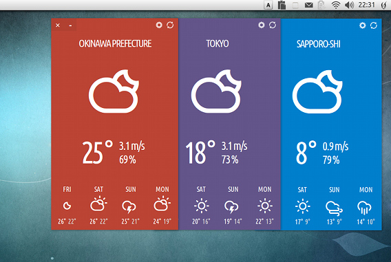 StormCloud Ubuntu 天気 ウィジェット