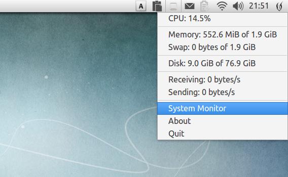 SysPeek Ubuntu Unity パネル システムモニタ
