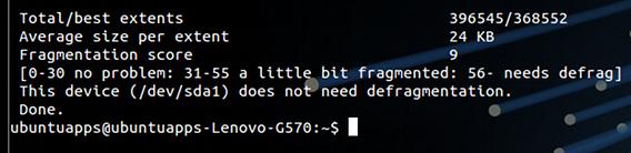 e4defrag Ubuntu コマンド デフラグ 断片化の検査