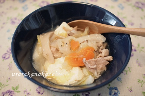 野菜スープの残り物をアレンジ