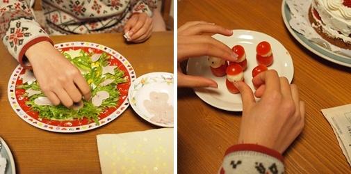 クリスマスリースサラダ&プチトマトサンタ作り