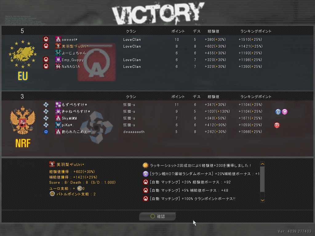 vs 狂猫・s