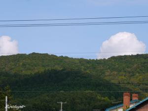 徐々に色づき始める山