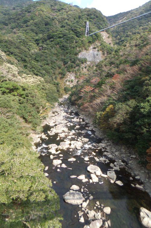 吊り橋と渓谷