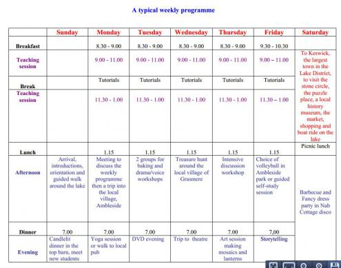 nab time table