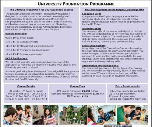 Regent Cambridge Foundation programme