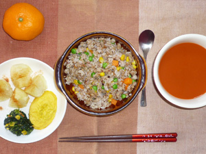 チャーハン,ほうれん草のソテー,蒸しイモ,プチオムレツ,野菜スープ,みかん