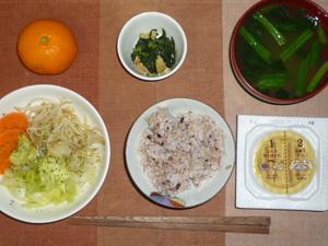 胚芽押麦入り五穀米,納豆,温野菜(キャベツ,ニンジン,もやし,玉葱),ほうれん草のおひたし,ほうれん草のおみそ汁,みかん