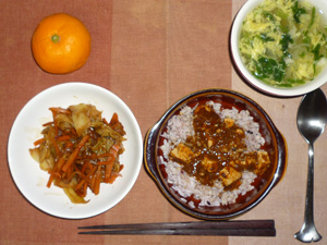 麻婆豆腐丼,キャベツとニンジンの甘辛味噌炒め,ほうれん草と玉ねぎの卵スープ,みかん