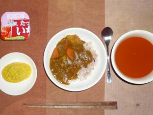 カレーライス,プチオムレツ,野菜スープ,ヨーグルト