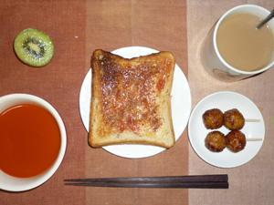イチゴジャムトースト,野菜スープ,つくね×2,キウイフルーツ,コーヒー