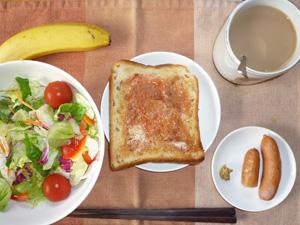 イチゴジャムトースト,サラダ,ソーセージ,バナナ,コーヒー